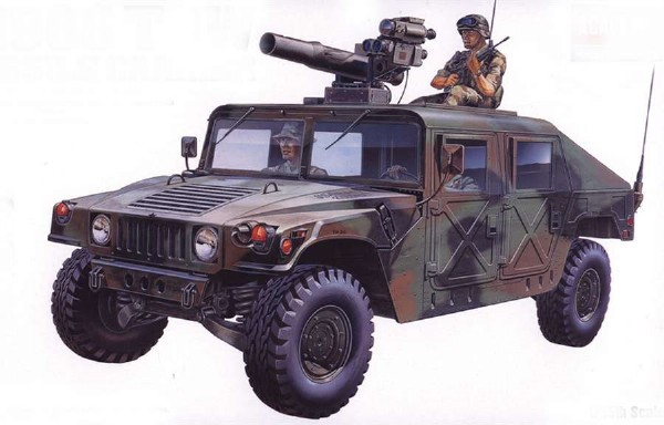 Byggmodell stridsfordon - M-966 Hummer w/tow - 1:35 - Academy