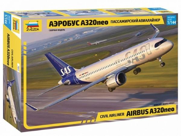 Byggmodell flygplan - Airbus A320NEO w. SAS new livery decal - 1:144-  Zvezda