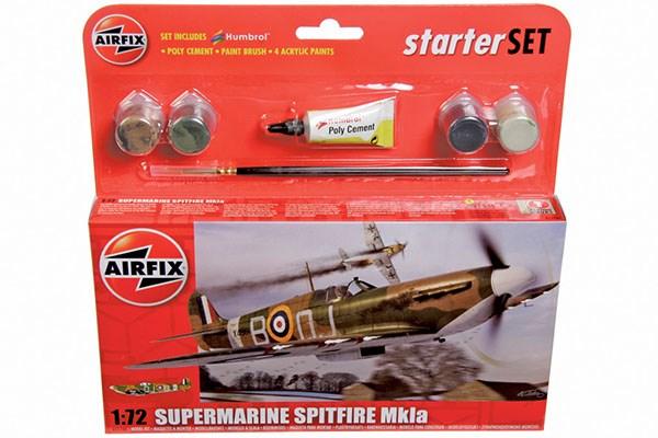 Byggmodell flygplan - Starter Set Spitfire Mk1a - 1:72 - AirFix