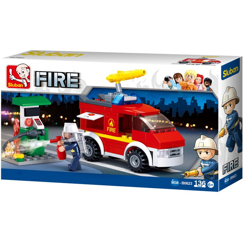 Fire Brigade Emergency Vehicle and Fuel Pump - B0623-  Sluban
