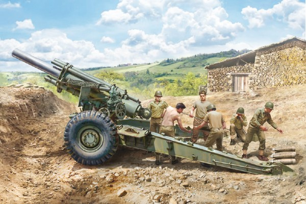 Byggmodell stridsfordon - M1 155mm GUN w/CREW 1:35 Italieri