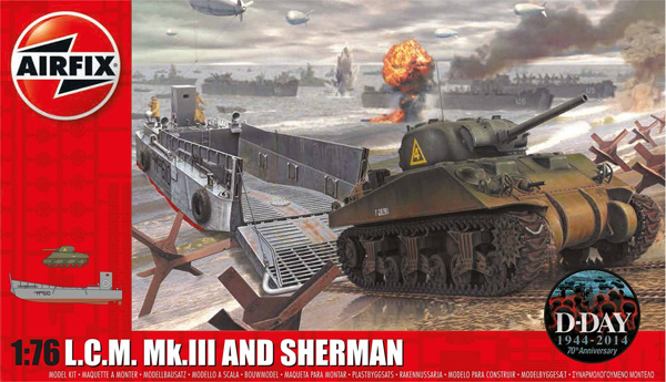 Byggmodell landsättning - LCM and Sherman - 1:76 - Airfix