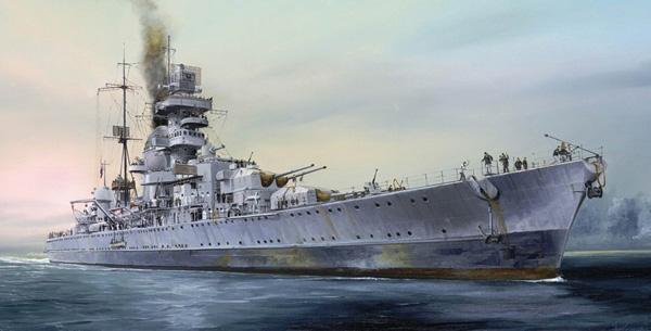 Krigsskepp byggmodell - Prinz Eugen 1945  - 1:700 - TR