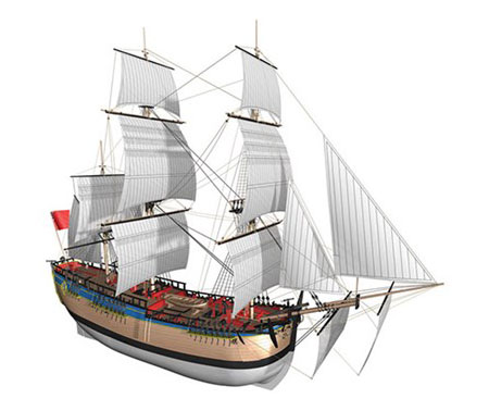 Trämodell fartyg - HMS Endeavour 514 - 1:50 - BB