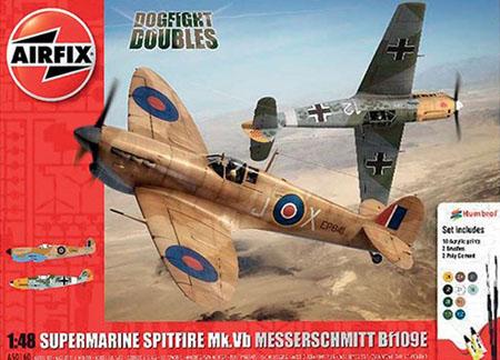Byggmodell flygplan - Supermarine Spitfire MkVb & Messerschmitt BF109E - 1:48 - AirFix