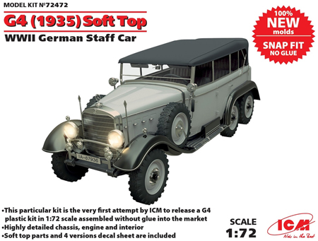 Byggmodell stridsfordon - G4 1935 Soft Top - SNAP - 1:72