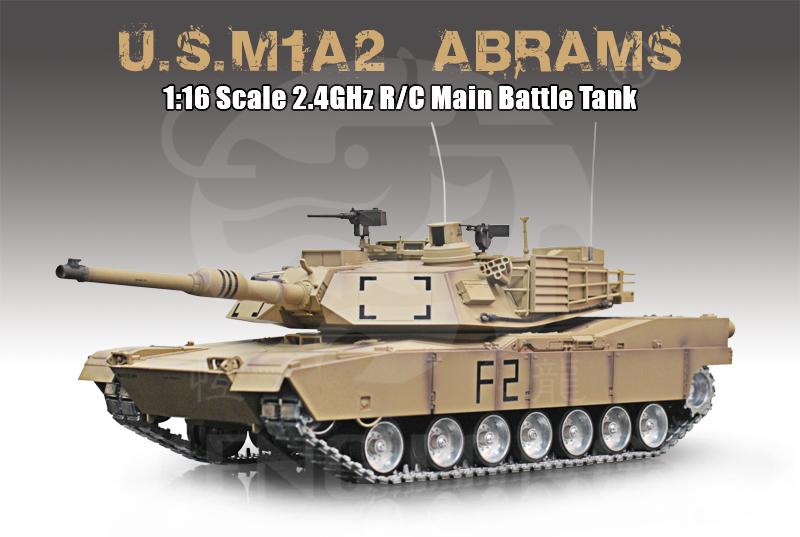 Radiostyrd stridsvagn - V6 ny - 1:16 - M1A2 Abrams Ultimate Cammo - 2,4Ghz - Met. s.airg. rök & ljud - RTR