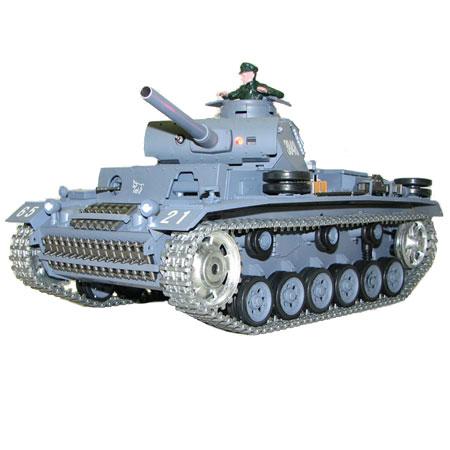 Radiostyrd stridsvagn - 1:16 - Panzerkampfwagen III METALL Upg. - 2,4Ghz - s.airg. rök & ljud - RTR