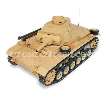 Radiostyrd stridsvagn - 1:16 - Tauch Panzer Tank III METALL Upg. - 2,4Ghz - s.airg. rök & ljud - RTR